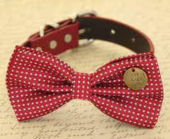 Red Dog Bow Tie collar, Red Polka dots, Charm, Dog lovers, Dog Birthday gift, Christmas
