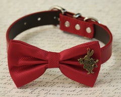 Red Dog bow tie Collar, Alice In Wonderland,  Rabbit