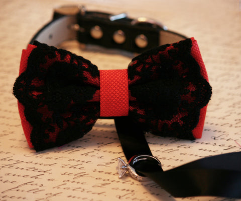 Red Dog Bow Tie ring bearer attached to collar, Proposal idea, Handmade, Red lovers