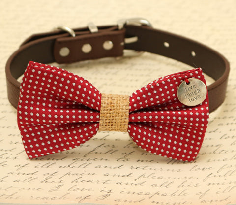 Red and Burlap Dog Bow tie attached to collar with charm