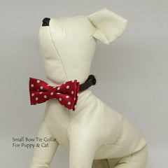 Micheys Red Big Polka dots  bow, Small bow tie collar, Puppy Collar, Cat collar, Cat bow tie collar, Leather, Handmade, Cat bow, XS Collar,
