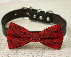 Red Dog Bow tie Collar, Floral wedding accessory, Red and Black wedding pet ideas