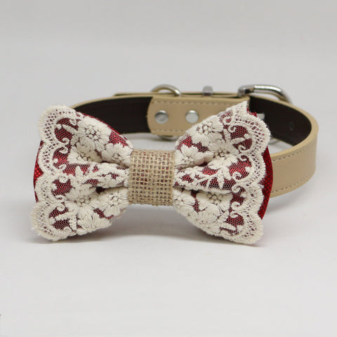 Copy of Copy of Pink Dog Bow Tie collar, Lace and Burlap, Handmade dog collar, Pink Lace bow tie