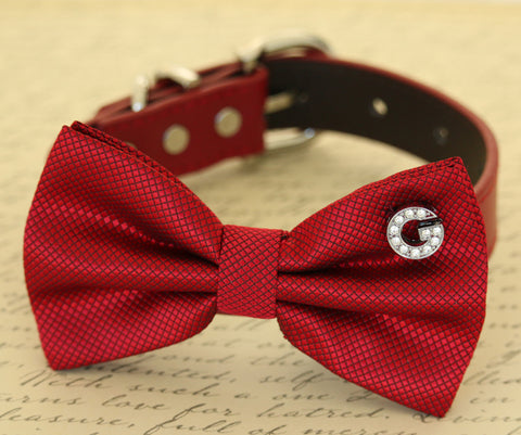 Red Dog Bow tie collar, Pet wedding accessory, Dog lovers, charm , Wedding dog collar