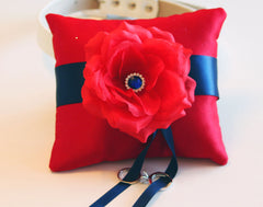 Navy Blue Red Ring Pillow, Ring Pillow attach to the High quality Leather Collar, Ring Bearer Pillow, Pet wedding accessory - LA Dog Store  - 1
