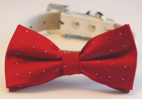 Red Dog Bow Tie with high quality leather collar, Red Wedding dog accessories