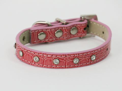 Pink Rhinestone dog Collar, Leather, Buckle, beaded, Small dogs
