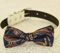 Rose gold dog bow tie collar, bow attached to dog collar, Dog Birthday gift, dog lovers, Pet wedding accessory,Rose gold wedding, Navy - LA Dog Store  - 1