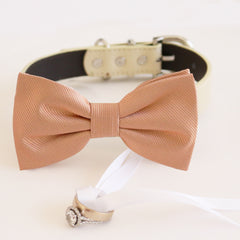 Rose gold bow tie collar Leather collar dog of honor ring bearer adjustable handmade XS to XXL collar and bow, Puppy bow collar, Proposal