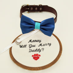 Royal blue bow tie dog collar, Bow and handmade Embroidery sign attached to leather dog collar, will you marry me, Marry me sign, Dog ring bearer , Wedding dog collar