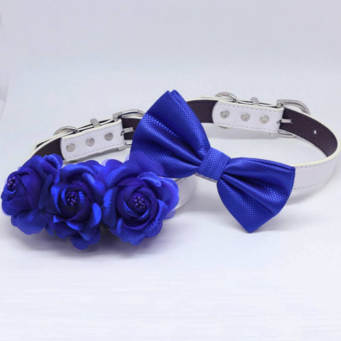Royal Blue Wedding Two Dog Collars, Royal Blue bow tie and Floral Dog Collar, Handmade , Wedding dog collar