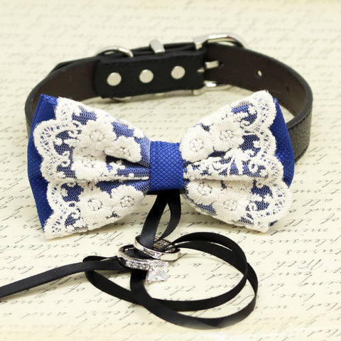 Royal Blue and Lace Dog Bow Tie Collar, Ring Bearer, Pet Wedding, Black Ribbon, Proposal