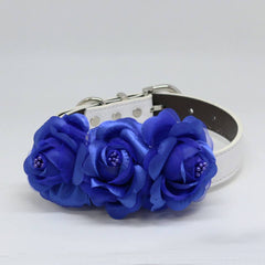 Royal Blue Floral Dog Collar, Wedding Pet Accessory, Rose Flowers, Handmade Puppy Love