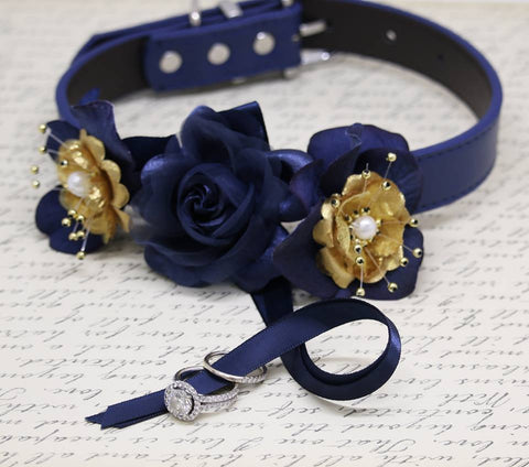 Navy and Gold wedding dog collar, Gold Wedding, Ring Bearer, proposal , Wedding dog collar