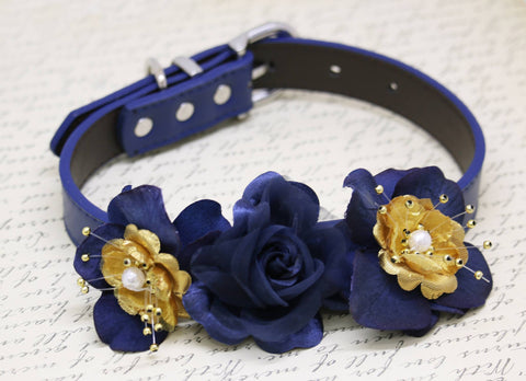 Navy and Gold wedding dog collar, Floral Pet Wedding, Navy Gold Wedding