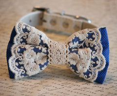 Royal Blue Lace Dog Bow Tie, Lace Bow, Vintage wedding, Rustic, Bohemian, Proposal idea, Some thing blue - LA Dog Store  - 1