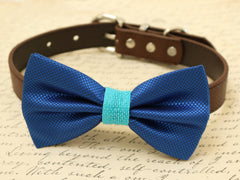 Royal blue Dog Bow Tie, Bow attached to brown dog collar, pet wedding accessory, Burlap, Some thing blue,Beach wedding,Dog lovers,Royal blue - LA Dog Store  - 1