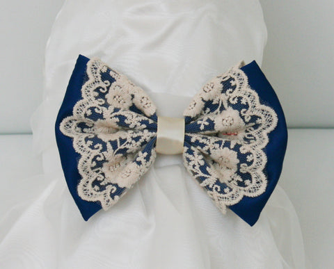 Royal Blue Dog dress, Flower girl dress , Royal Blue pet Wedding accessory , Wedding dog collar