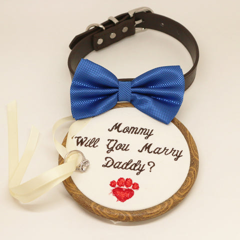 Royal blue Bow Tie dog collar, Dog ring bearer, Proposal, Embroidery, will you marry me, Leather dog collar, Marry me sign, Handmade, collar