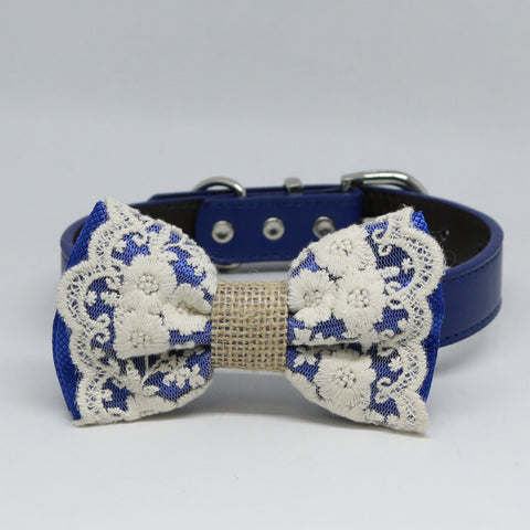 Royal blue Lace Dog Bow Tie collar, Some thing blue Handmade dog collar, Royal blue Lace bow tie , Wedding dog collar