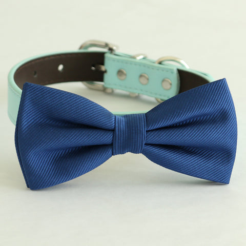 Navy bow tie collar Leather dog Ivory blue orange copper Navy brown or Gold collar dog of honor dog ring bearer Puppy XS to XXL collar and bow tie, adjustable , Wedding dog collar