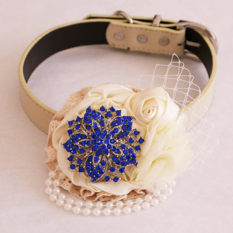 Royal blue Flower dog collar, beaded pearl flower, handmade flower collar, Dog of honor, proposal or every day use, S to XXL collar , Wedding dog collar