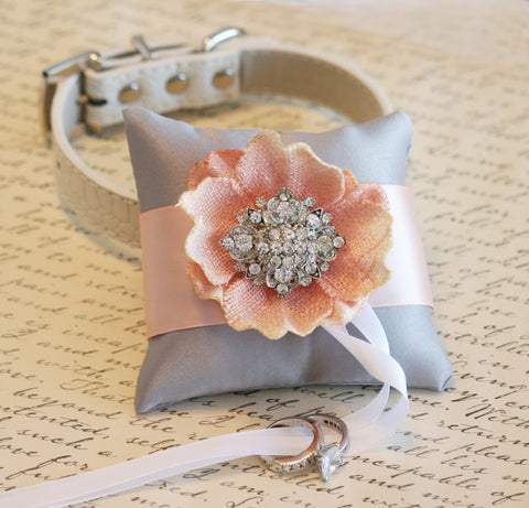 Silver and Blush Ring Pillow for dogs attach to Collar, Burlap wedding