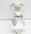 White Dog Dress, Silver Bow, Dog Birthday gift, Pet wedding accessory, dog clothing, Chic, classy, Silver and White dress - LA Dog Store  - 2