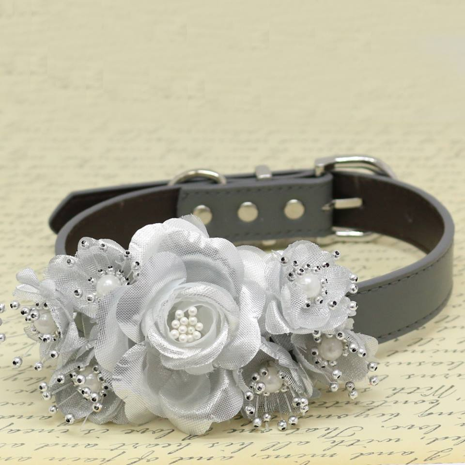 Silver Wedding Floral Dog Collar Rose Flowers With Pearls Puppy