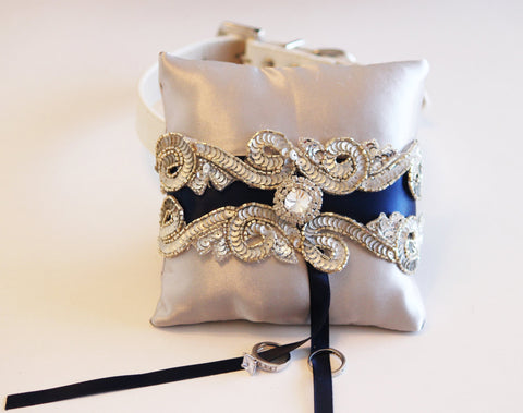Midnight blue and silver Ring Pillow dog Collar, Ring Bearer Pet Blue wedding
