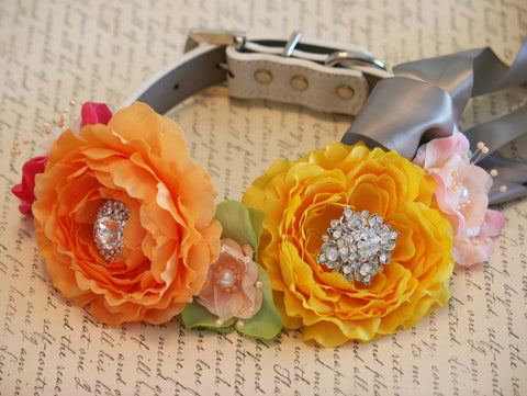 Spring wedding Floral Dog Collar, Yellow, Orange, pink, peach and Green