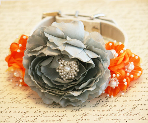 Tangerine and Gray wedding Floral Dog Collar, Pet wedding ideas , Wedding dog collar