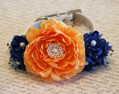 Peonies Tangerine and Royal Blue dog collar, Floral wedding, Royal blue Wedding