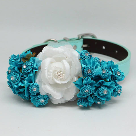 Blue Floral Wedding dog leather Collar, Teal Blue Flowers, Handmade, Something Blue