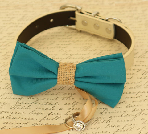 Teal blue Dog Bow Tie ring bearer attached to collar, Burlap, Pet Wedding