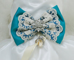 Teal Blue Dog dress, ring bearer, pet Wedding accessory, Beach, Proposal, Lace and Rhinestone
