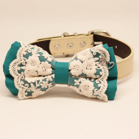 Teal Blue Lace dog bow tie collar, Lace, charm,Heart, Pet wedding accessory , Wedding dog collar