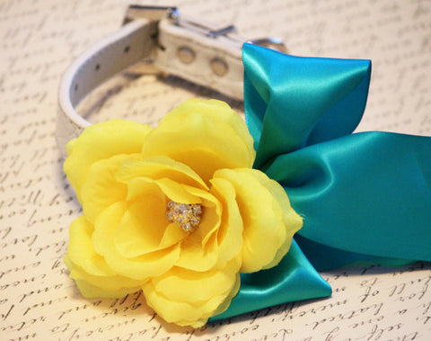 Teal blue Yellow wedding dog collar, floral Wedding, Teal Blue Wedding pet collar