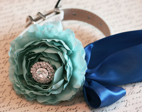 Peonies Beach wedding dog collar, Tiffany and Royal Blue, Shade of blues, Ocean wedding
