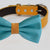 Scuba blue Orange bow tie collar, handmade Puppy bow tie, XS to XXL collar and bow adjustable dog of honor ring bearer, Blue bow tie