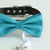 Scuba blue bow tie collar Leather collar dog of honor ring bearer adjustable handmade XS to XXL collar bow Puppy proposal blue navy collar