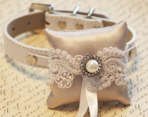 Ivory Ring Pillow with pearl and Rhinestone attach to Collar, Ivory Lace wedding