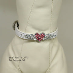Dog Cat Collar, Leather, Charm, XS Collars,  Puppy collars, Cat Collar, kitten collar, Flying heart