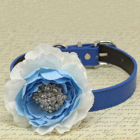Flower Handmade Dog Collar, Blue White, Beaded Dog Collar, Wedding Pet accessory