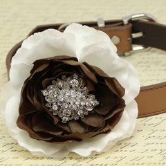 White and Brown Flower Dog Collars, Beaded Dogs collar, pet Wedding accessory, Puppy Love