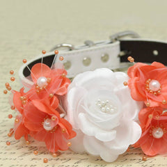 White and Coral Floral Dog Collar, Pets Wedding Accessory, Rose Flowers with Pearls, Puppy Love , Wedding dog collar