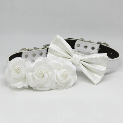 White Wedding Two Dog Collars, white bow tie and Floral Dog Collar, Handmade