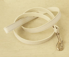 White Dog Leash, White Leather Leash, Pet Accessories, White, Dog Leash, Dog Accessory - LA Dog Store  - 1