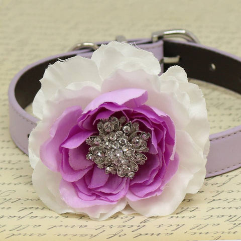 Flower Handmade Dog Collar, White and Lavender, Beaded Collar, Pet Wedding, Puppy Love, Peony