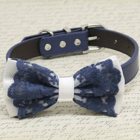 White and Navy Lace dog bow tie collar, Pet wedding accessory, Birthday Gifts , Wedding dog collar